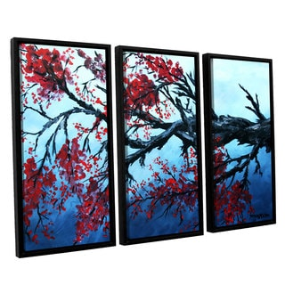 ArtWall Derek Mccrea 'Japanese Cherry Blossom' 3 Piece Floater Framed Canvas Set