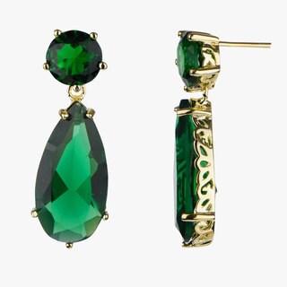 Green CZ Pear Drop Earrings