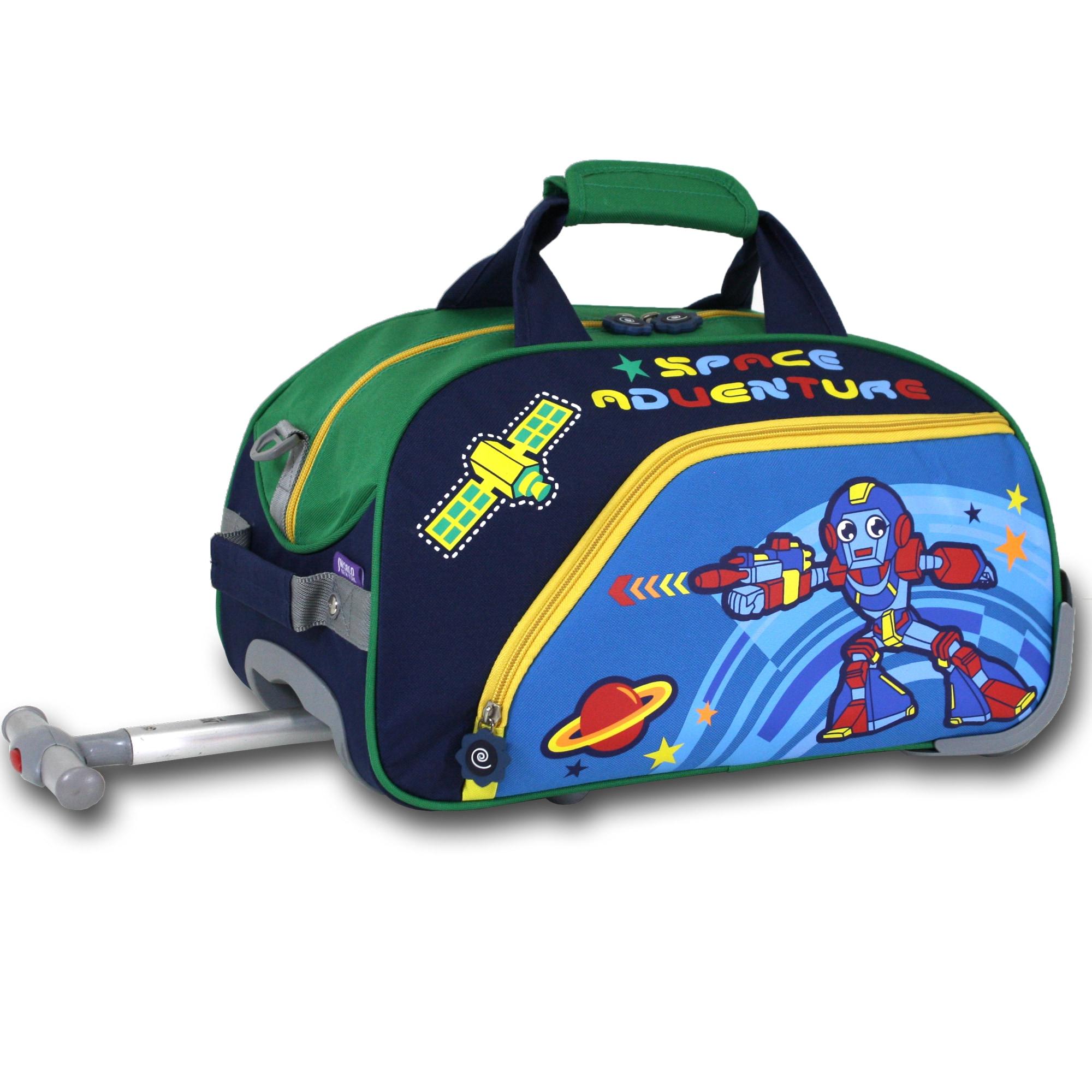 J World Robot Kids Rolling Duffel Bag (Robot), Blue