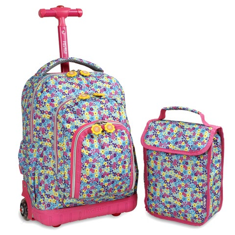 J World Floret Lollipop 16-inch Rolling Backpack and Lunch Bag Set