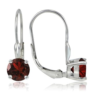 Glitzy Rocks Sterling Silver 2.2ct TGW Garnet Leverback Earrings