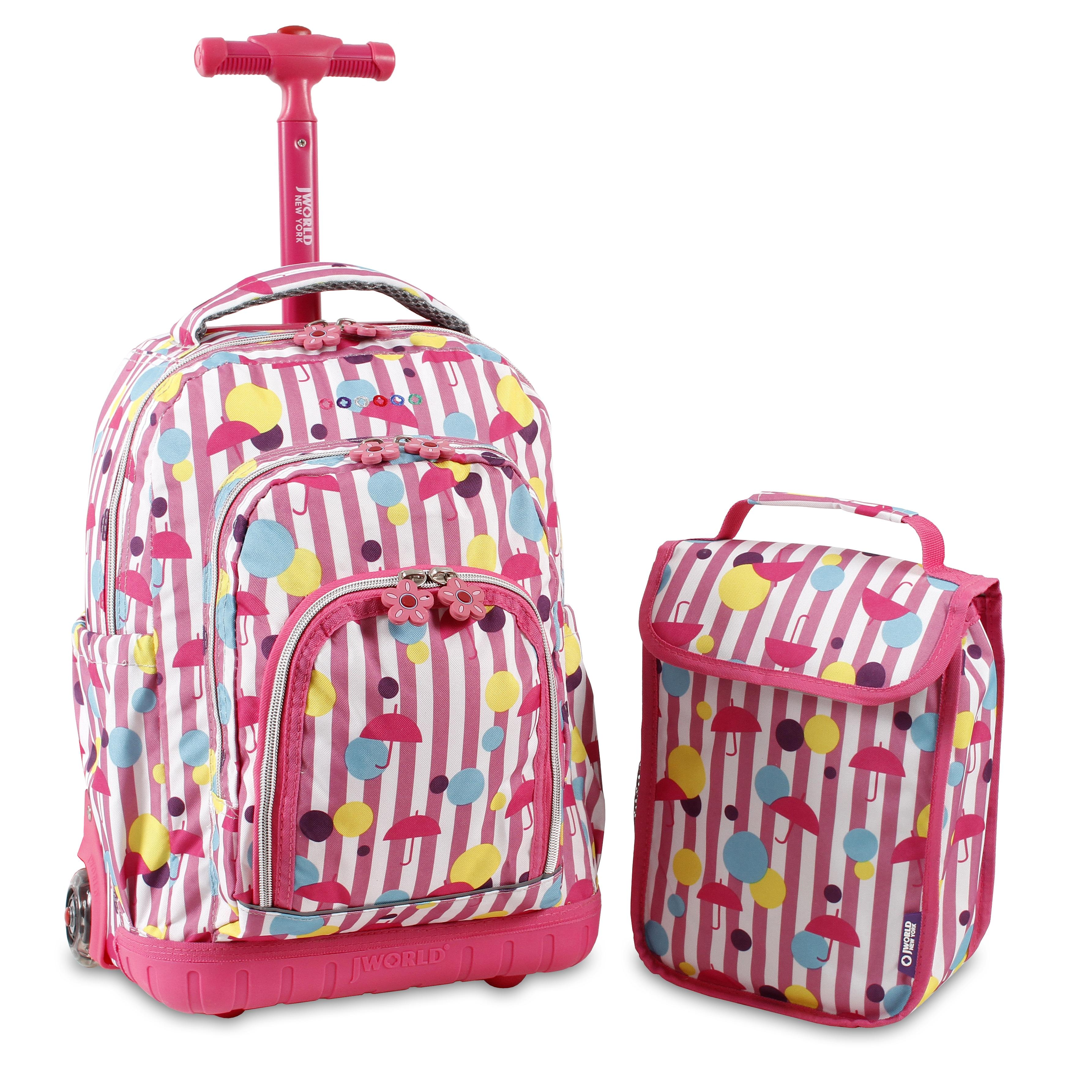 Kids School Lunch Bag Rolling Backpack Wheeled Book-Bag Roller ...