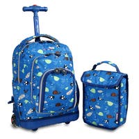 J World Seaworld Lollipop 16-inch Rolling Backpack and Lunch Bag Set