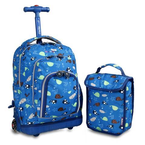 J World Seaworld Lollipop 16-inch Rolling Backpack and Lunch Bag Set