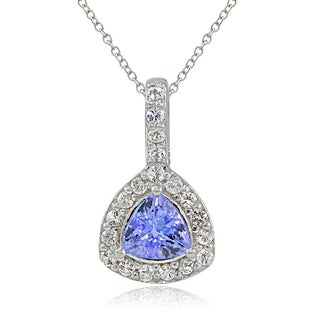 Glitzy Rocks Sterling Silver Tanzanite and White Topaz Trillion-Cut Necklace