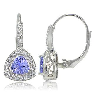 Glitzy Rocks Sterling Silver Tanzanite and White Topaz Trillion-Cut Leverback Earrings