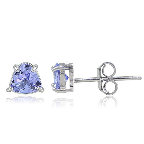 Glitzy Rocks Sterling Silver Tanzanite Trillion-Cut Stud Earrings