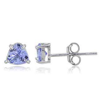 Glitzy Rocks Sterling Silver Tanzanite Trillion-Cut Stud Earrings