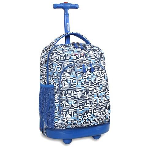 J World Geo Blue Sunny 17-inch Rolling Backpack
