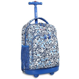 J World Geo Blue Sunny 17-inch Rolling Backpack