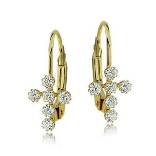 Icz Stonez 10k Gold Cubic Zirconia Cross Leverback Earrings