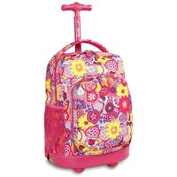 J World Poppy Pansy Sunny 17-inch Rolling Backpack