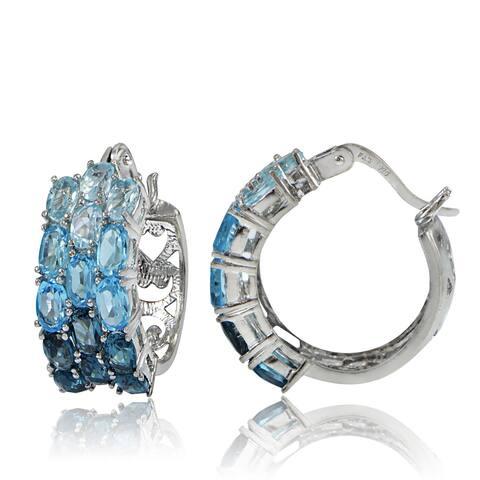 Glitzy Rocks Sterling Silver Sky Swiss and London Blue Topaz Hoop Earrings