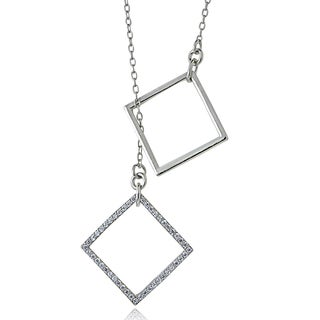 Icz Stonez Sterling Silver Cubic Zirconia Square Dangling Necklace