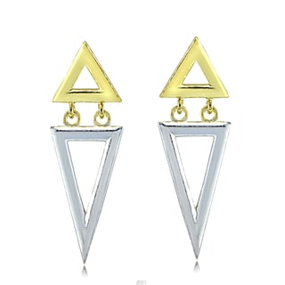 Mondevio Sterling Silver Two-Tone Double Inverse Triangle Dangle Earrings