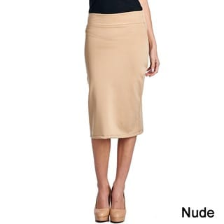 Mid Length High Waist Women's Scuba Solid Pencil Skirt