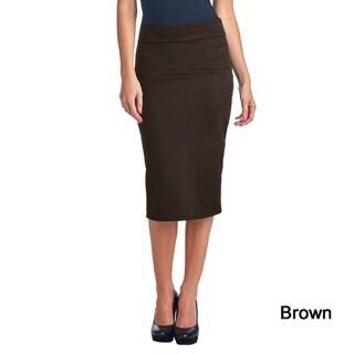 Mid Length High Waist Women's Scuba Solid Pencil Skirt