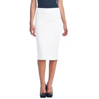 Women's Scuba Solid Mid-length High-waist Pencil Skirt