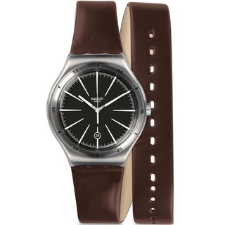 Swatch Men's YWS409 'Irony' Brown Leather Watch