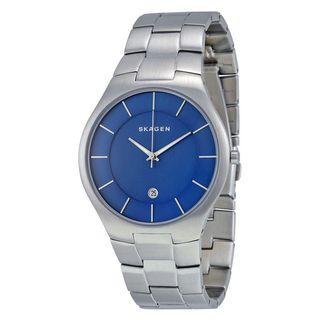 Skagen Men's Grenen Analog Blue Dial Stainless Steel Bracelet Watch