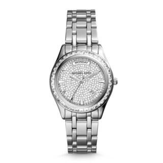 Michael Kors Women's Kiley Crystal Pave Dial Silver-Tone Stainless Steel Bracelet Watch MK6144