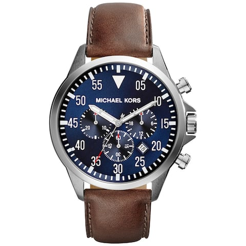 Michael Kors Men's Gage Chronograph Blue Dial Blown Leather Watch