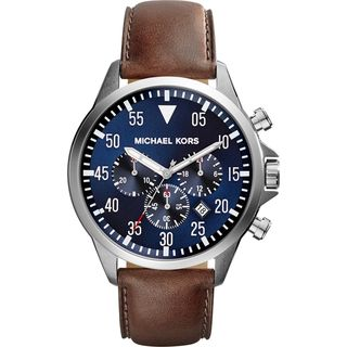 Michael Kors Men's MK8362 Gage Chronograph Blue Dial Blown Leather Watch