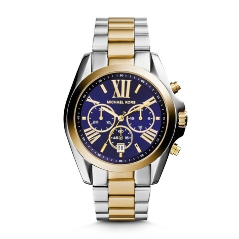 Michael Kors Women's Bradshaw Chronograph Blue Dial Two-Tone Stainless Steel Bracelet Watch