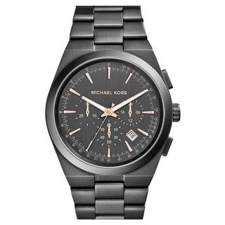 Michael Kors Men's Channing Chronograph Black Gunmetal Ion Plated Stainless Steel Bracelet Watch MK8403