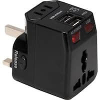 QVS Premium World Travel Power Adaptor with Surge Protection & 2.1A D