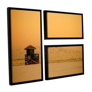 ArtWall Lindsey Janich 'Sunset' 3 Piece Floater Framed Canvas Flag Set