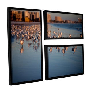 ArtWall Lindsey Janich 'Seagullsii' 3 Piece Floater Framed Canvas Flag Set