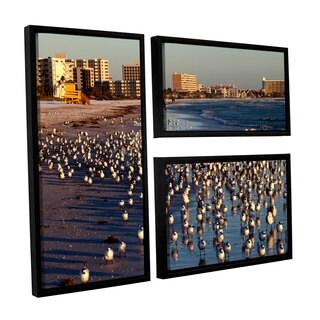 ArtWall Lindsey Janich 'Seagulls' 3 Piece Floater Framed Canvas Flag Set