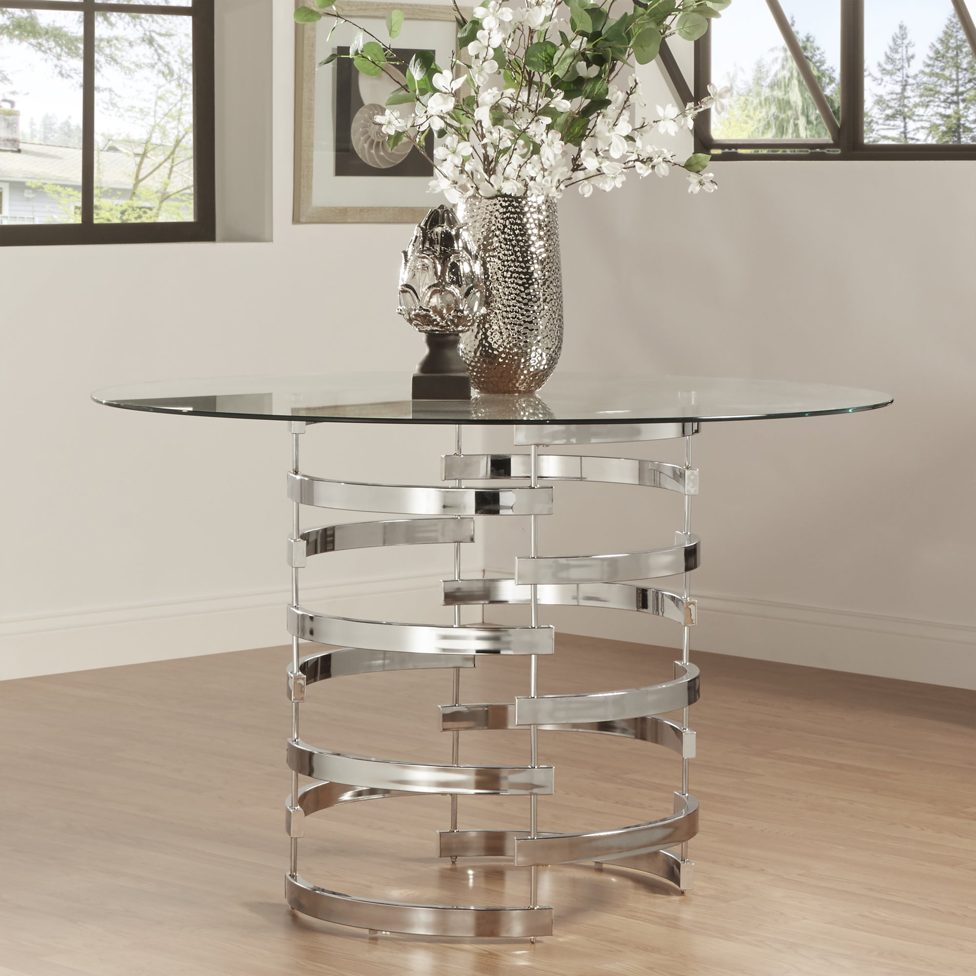Nova Round Gl Top Vortex Iron Base Dining Table By Inspire Q Bold Gold
