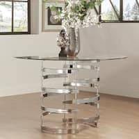 Nova Round Glass Top Vortex Iron Base Dining Table by iNSPIRE Q Bold