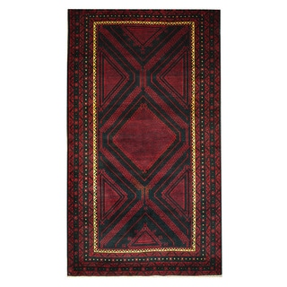 Herat Oriental Afghan Hand-knotted Tribal Balouchi Black/ Red Wool Rug (3'10 x 6'10)