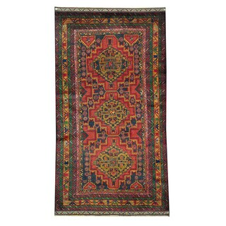 Herat Oriental Afghan Hand-knotted Tribal Balouchi Rust/ Navy Wool Rug (3'5 x 6')