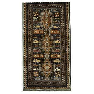 Herat Oriental Afghan Hand-knotted Tribal Balouchi Wool Rug (3'7 x 6'10)