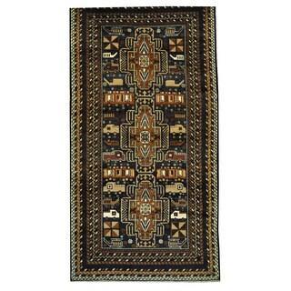 Herat Oriental Afghan Hand-knotted Tribal Balouchi Wool Rug (3'7 x 6'10)