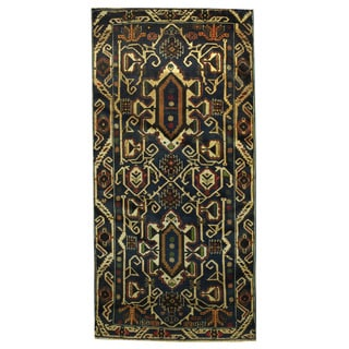 Herat Oriental Afghan Hand-knotted Tribal Balouchi Navy/ Ivory Wool Rug (3'4 x 6'9)