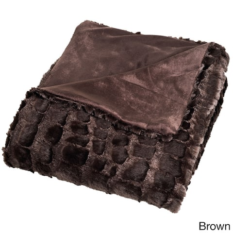 Windsor Home Plush Croc Embossed Faux Fur Mink Throw