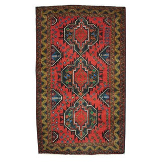 Herat Oriental Afghan Hand-knotted Tribal Balouchi Navy/ Red Wool Rug (3'9 x 6'4)