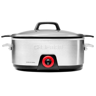 Chefman 6-quart Stainless Steel Slow Cooker with Die-Cast Insert