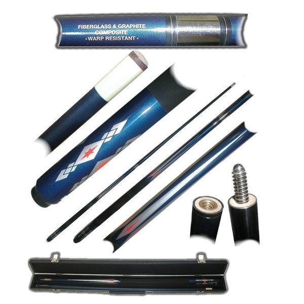 Fiberglass Blue Diamond Star Billiard Cue Stick by Trademark Gameroom