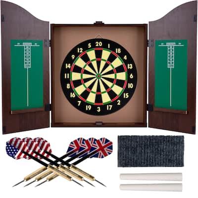 Trademark Gameroom Realistic Walnut Finish Dartboard Cabinet Set