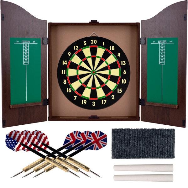 Trademark Room Realistic Walnut Finish Dartboard Cabinet Set Free Shipping Today 10404886