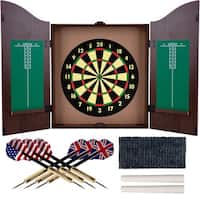 Trademark Gameroom Walnut-finish Self-healing Fiber Dartboard Cabinet Set