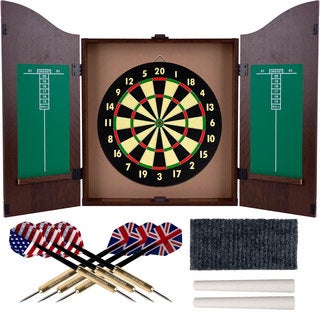 Trademark Gameroom Realistic Walnut Finish Dartboard Cabinet Set