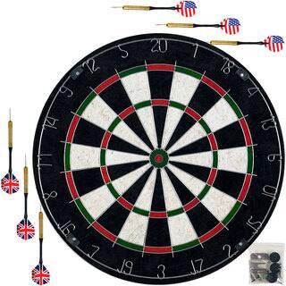 Bristle Dart Board with Metal Wire Spider Regulation Size Tournament Set 6-17 Gram Steel Tip Darts Trademark Games