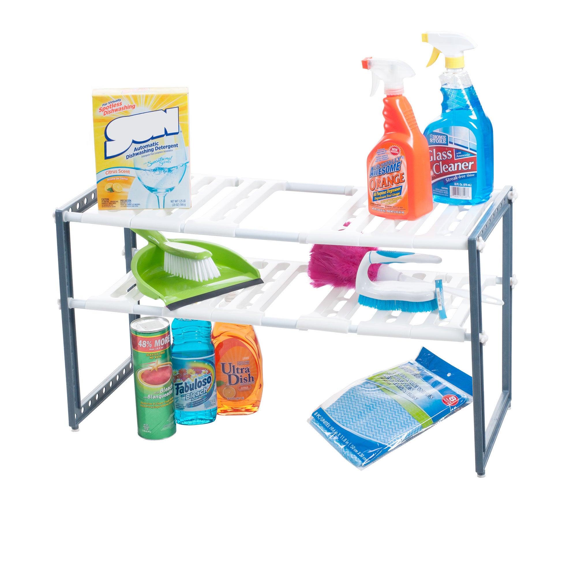 Trademark Stalwart Adjustable Under Sink Shelf Organizer ...